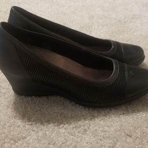 Clark's black wedge shoes, size 8.5